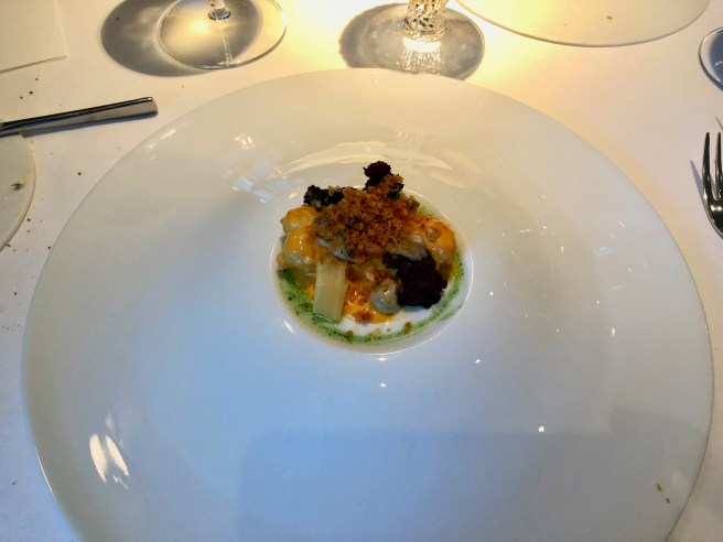 Langoustine, kimchi and sea buckthorn, peanut, oyster, black pudding, white asparagus