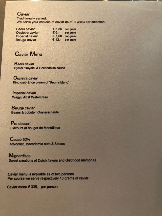 caviar menu