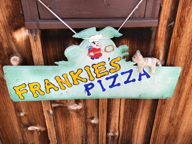 Frankie played on a Frankie's sign