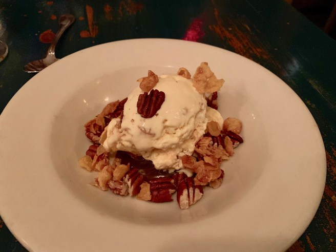 Cornflake brittle semifreddo, brandy caramel and toasted pecans