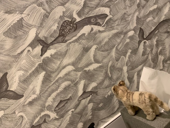 Frankie enjoyed the bathroom wallpaper