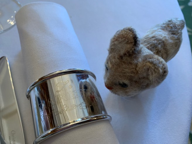 Frankie noted the engraved napkin rings