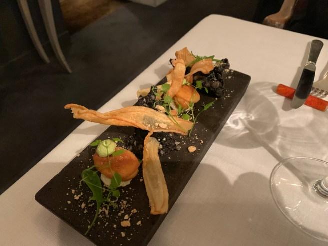 fish ink chip, parmesan cheese
