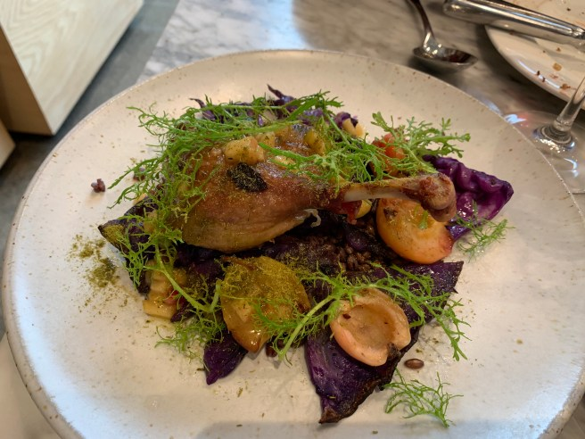 Confit Liberty Farms Duck Leg, purple barley, blistered Wickson apples, dried spruce, cabbage