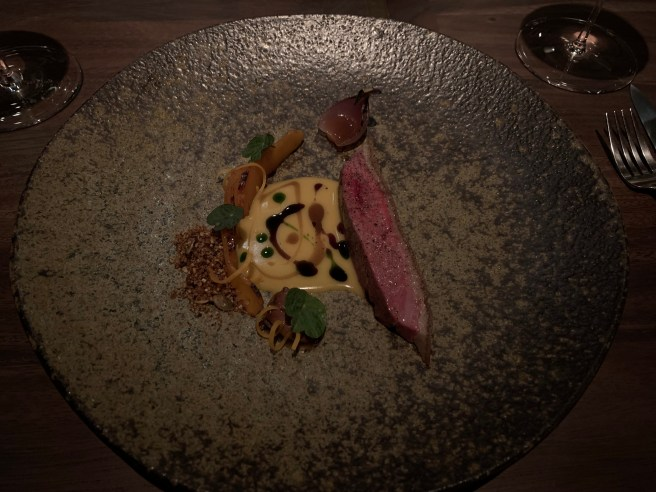 Duclair Duck, Koginut squash, duck heart and pumpkin seed