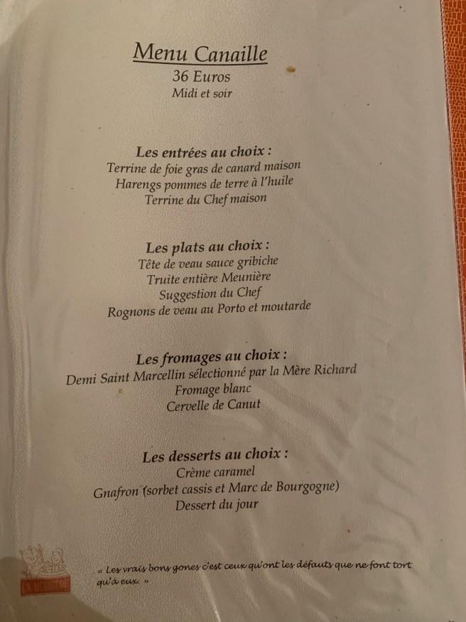 menu 6 French