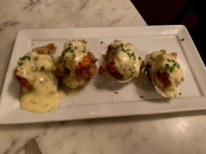 Oysters Goodenough - flash fried oysters, Benton's Bacon, Creamed leeks, sauce Béarnaise