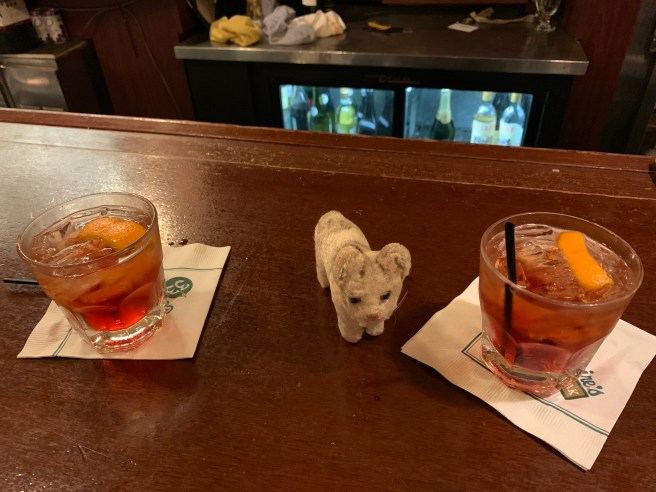 Frankie with some negronis