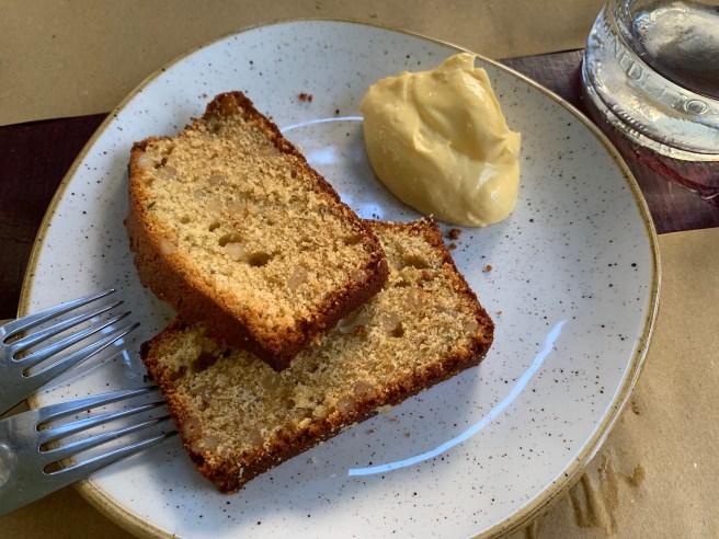 plum cake and cream