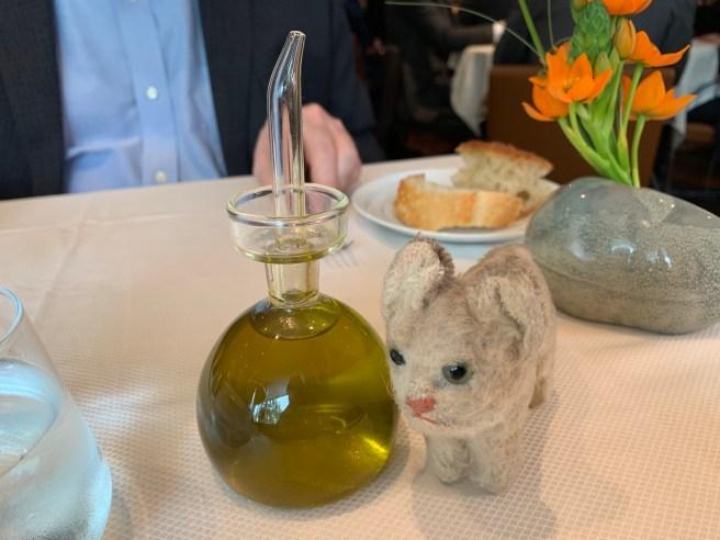 Frankie and the olive oil dispenser