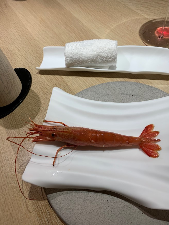 Santa Barbara spot prawn with wet cloth