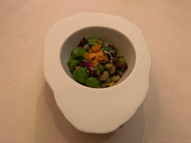 Urchin/Uni, Chanterelle,  Beans