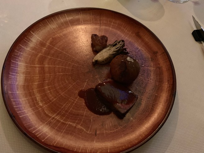Wagyu/Maitake Mushroom, Liver Mousse, Apricot
