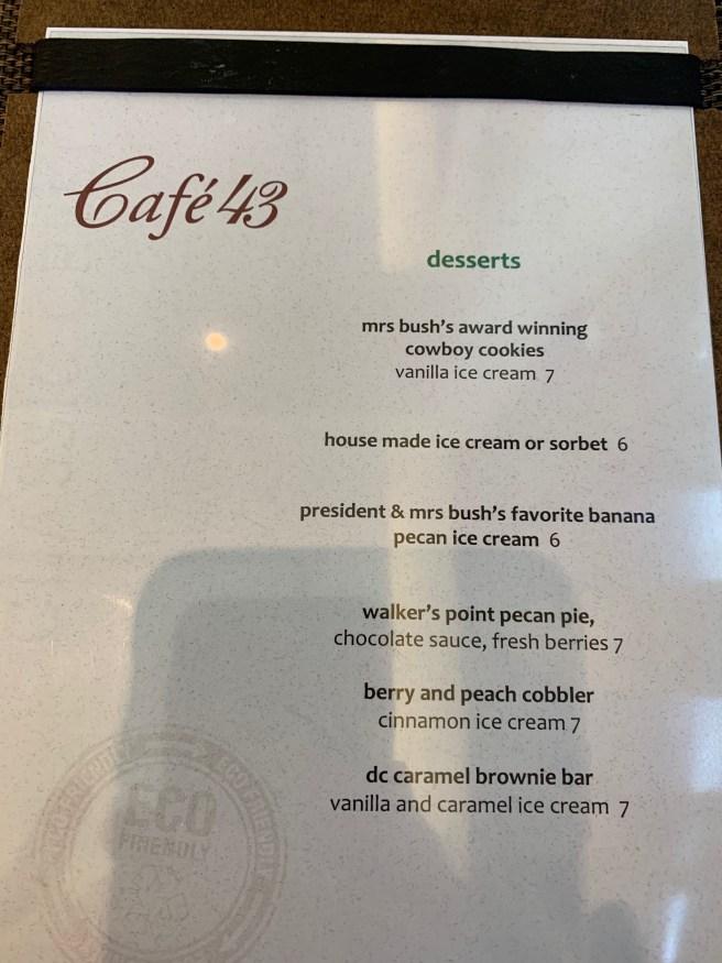 desset menu