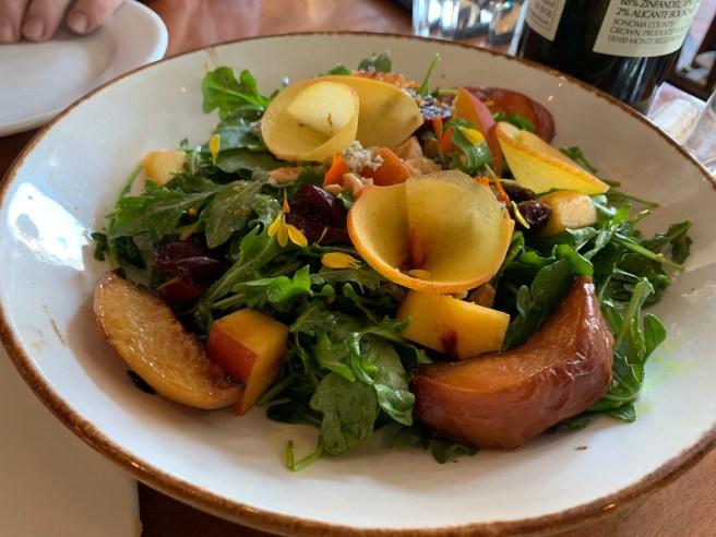 Stone Fruit Salad - Arugula, cherries, peaches, nectarines, Point Reyes blue cheese, marcona almonds, red onion, peach-tumeric vinaigrette