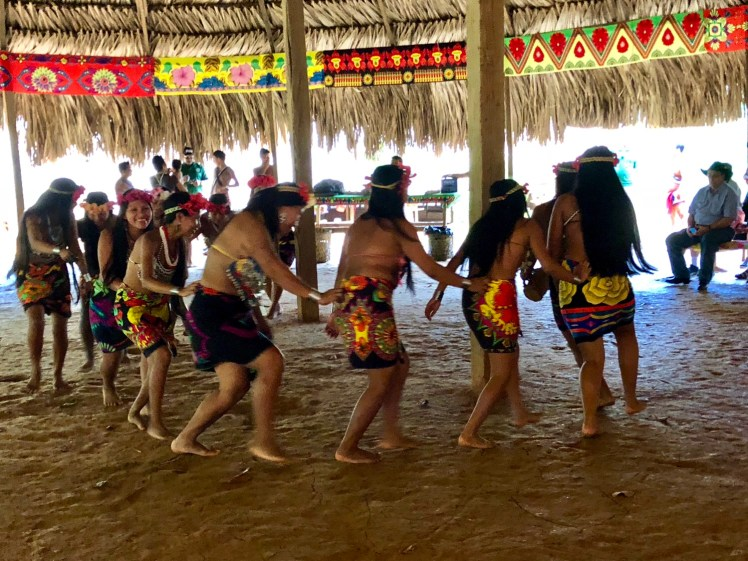 Embera Indian tribal dancing