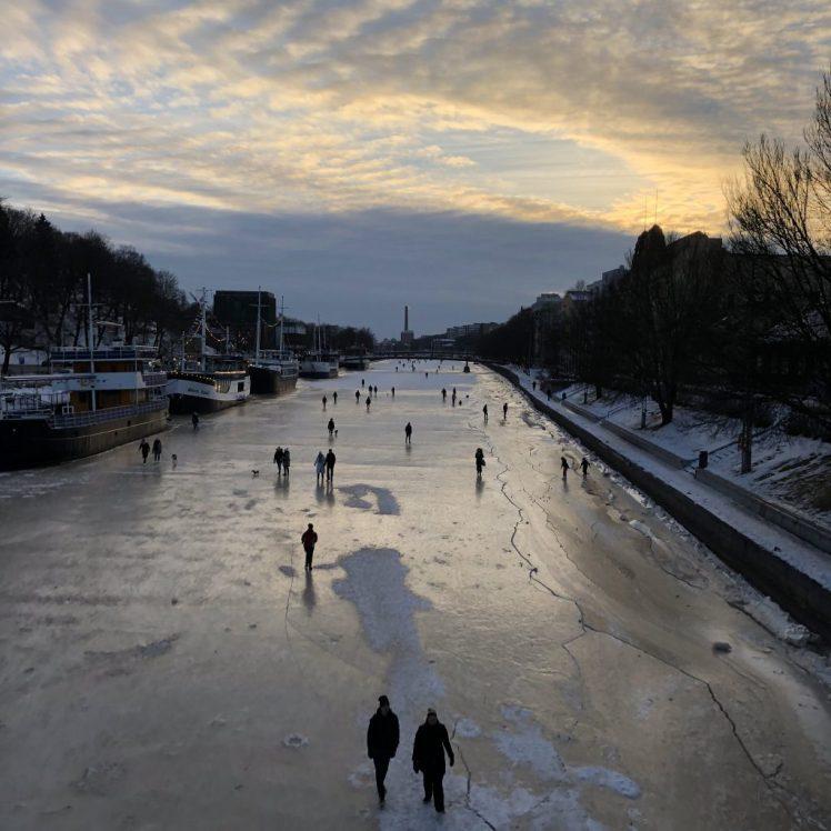 Aurajoki in Turku was frozen