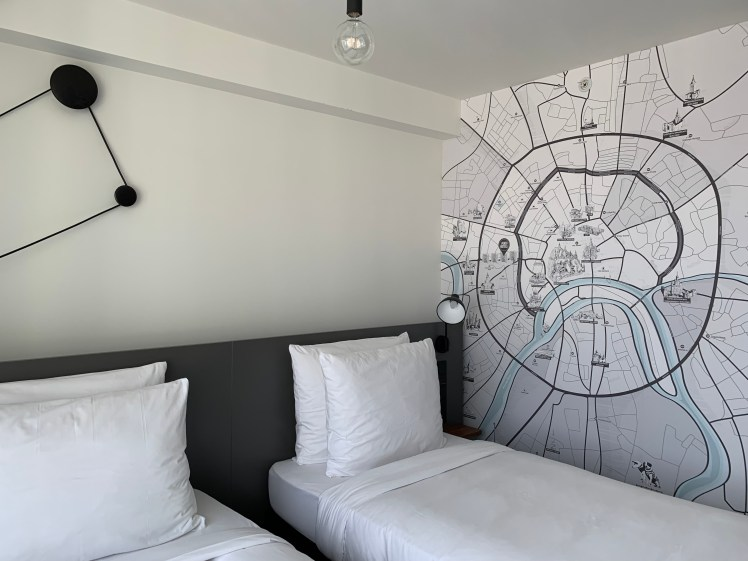 Penta Hotel Moscow has a map of Moscow on the wall