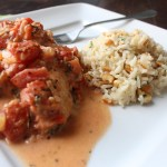 creamy tomato basil chicken with cashew rice pilaf