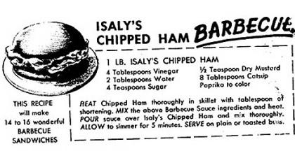 For National Sandwich Day: Isaly's Chipped Ham Barbecue