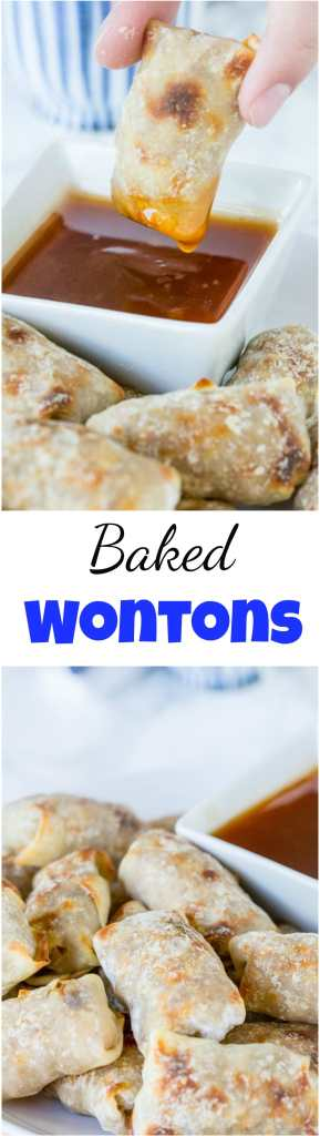 Baked wontons collage