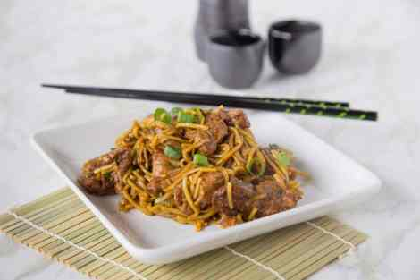 Five Spice Pork Lo Mein {Dinners, Dishes, and Desserts}
