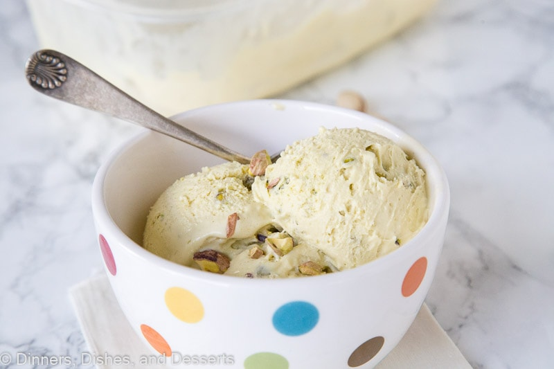 Pistachio Ice Cream - rich and creamy homemade pistachio flavored ice cream, loaded with even more chopped pistachios.
