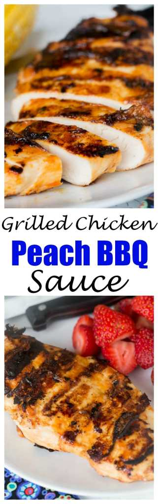 Grilled Chicken with Peach Barbecue Sauce - juicy grilled chicken with a sweet, smoky, and slightly spicy peach barbecue sauce.
