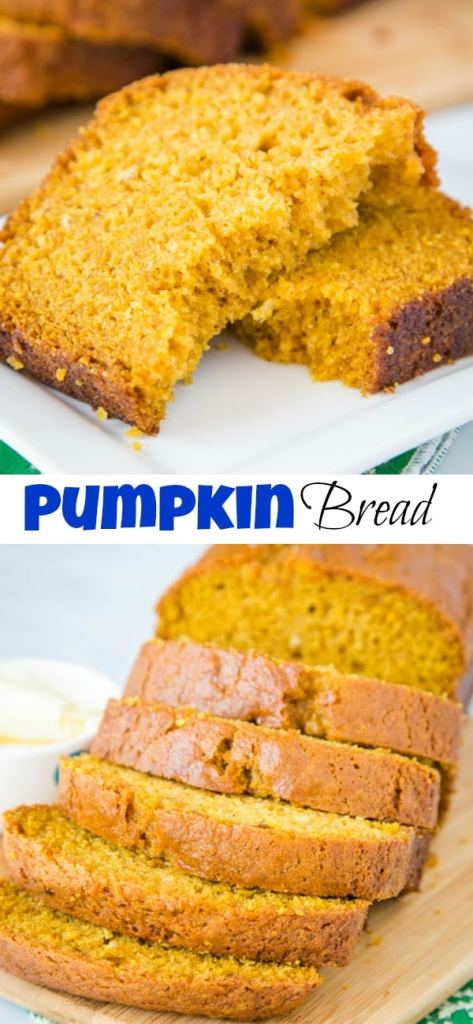 A piece of pumpkin bread on a plate
