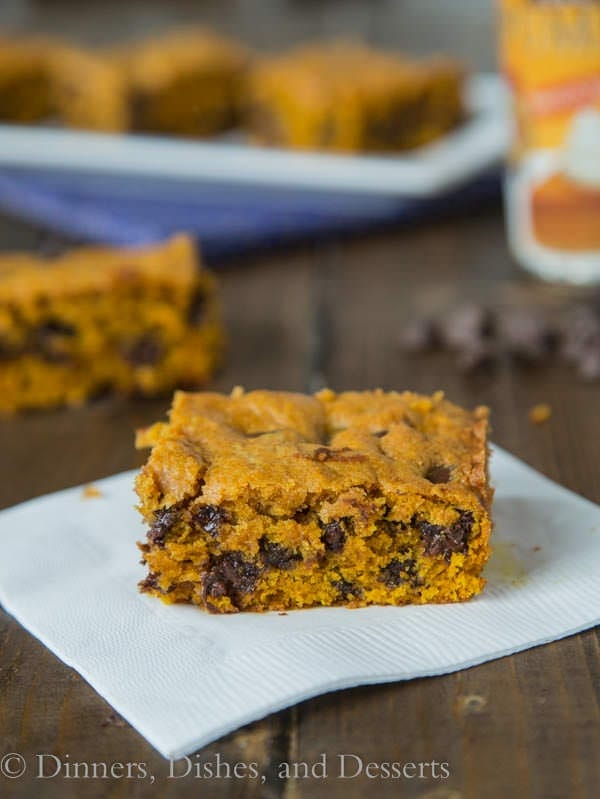 Pumpkin Chocolate Chip Bars - a great fall treat