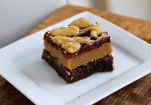 Peanut Butter Cookie Dough Brownies on white plate
