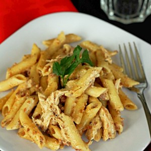 Smokey Garlic Chicken Pasta on white plate