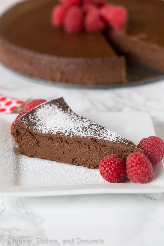 Slice Flourless chocolate cake