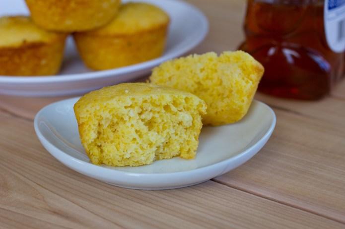 Corn Muffins cut in half n white plate