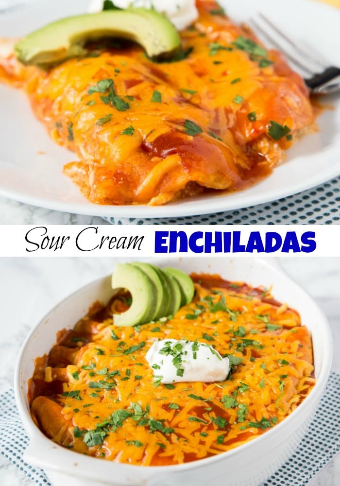 Sour Cream Chicken Enchiladas - Easy to make and absolutely delicious! Rich, creamy and great for any night of the week!