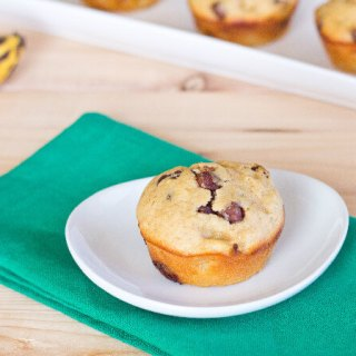 Peanut Butter Banana Chocolate Chip Muffins on white plate