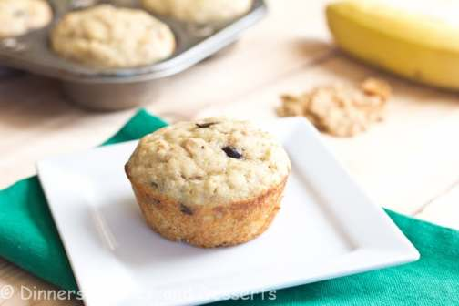 Banana Yogurt Bran Muffins - Moist Banana Muffins with Greek yogurt, and bran cereal. Plus chocolate chips, because everyday should start with chocolate.