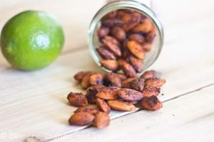chili lime spiced almond on a table