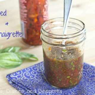 sun dried tomato and basil vinaigrette in a jar