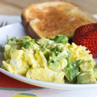 Avocado Scrambled Eggs - creamy scrambled eggs with heart healthy, buttery avocado