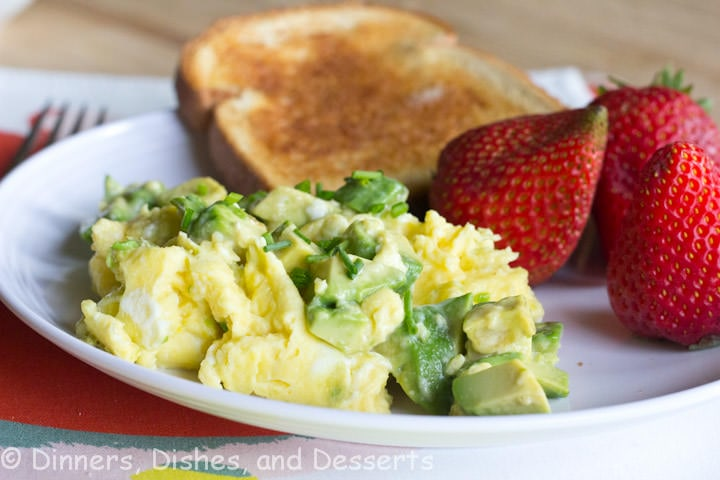 avocado scrambled egg on a plate
