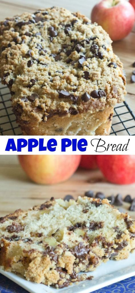 Apple Pie Bread - Tender and moist apple pie bread with chocolate chips, and the most glorious chocolate chip streusel. Perfect for fall.