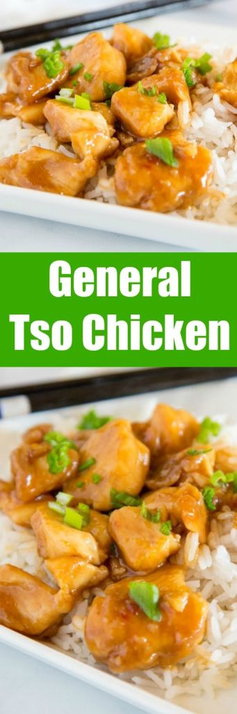 General Tso Chicken - this is an easy homemade takeout recipe you can make in just minutes any night of the week.  A lighter version without deep fried chicken, but still so full of flavor with just a little kick.
