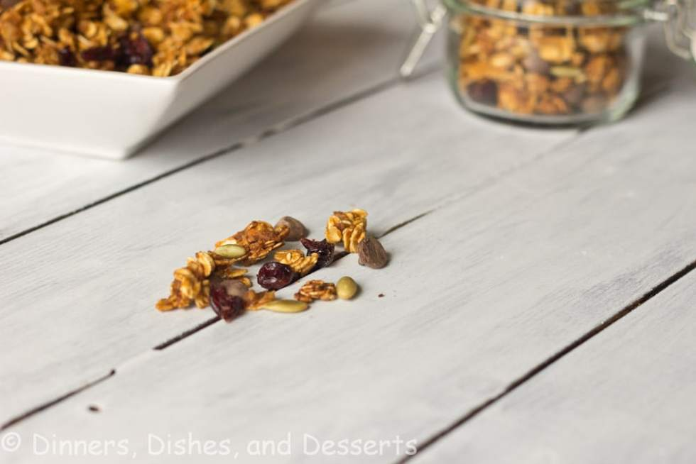 pumpkin spiced granola on a table