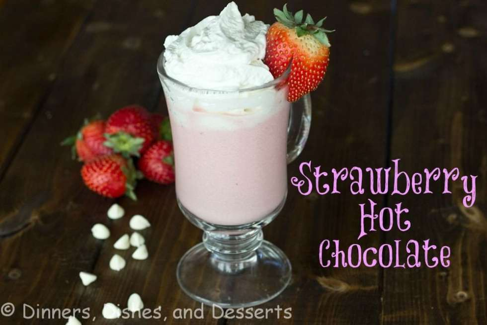 strawberry hot chocolate in a cup