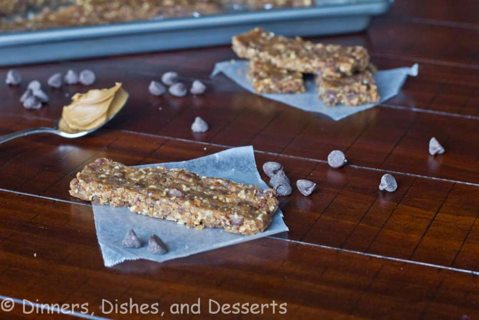 peanut butter chocolate chip larabars on a table