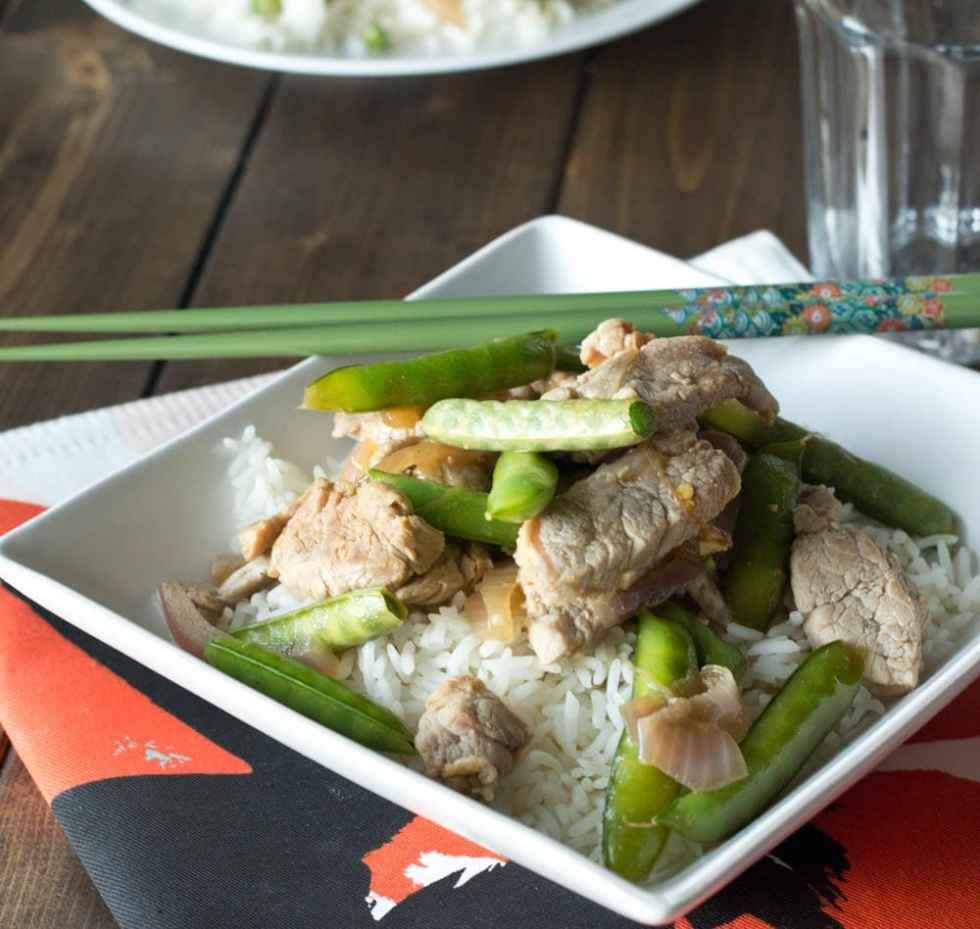 Saucy Stir-Fry Pork - Quick and easy pork stir-fry. Add your favorite veggies and have the dinner on the table in minutes!