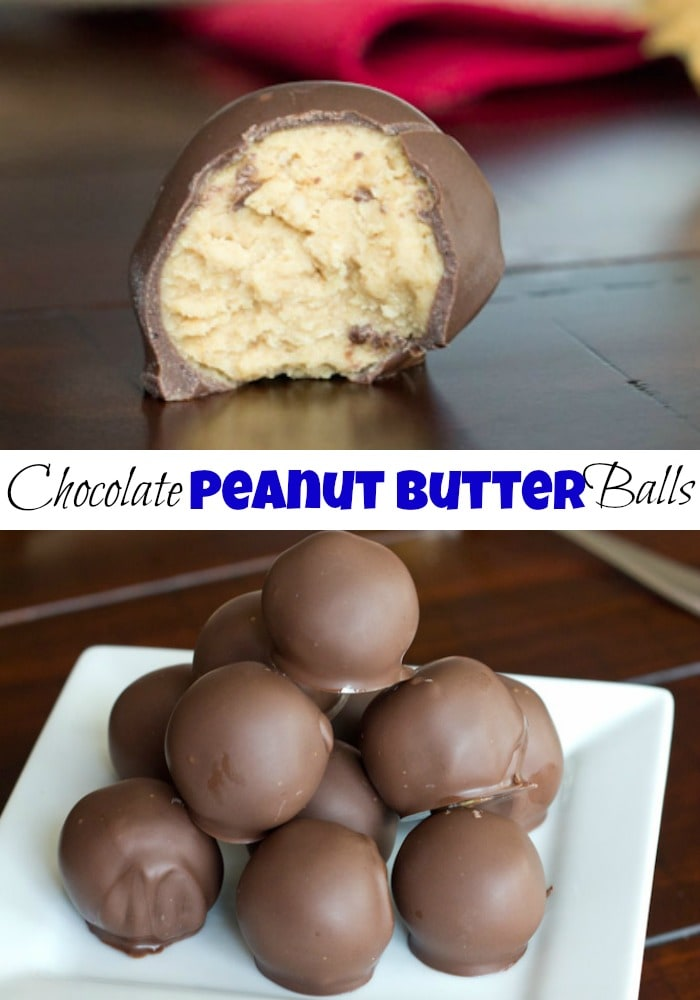 Peanut Butter Chocolate Balls - AKA Buckeye balls are delicious balls of creamy peanut butter coated in chocolate. A must for the holidays!