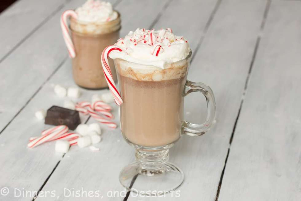 peppermint hot chocolate in a cup