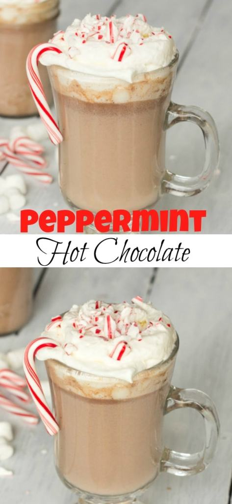 Peppermint Hot Chocolate Recipe - a creamy hot chocolate recipe with a hint of peppermint that is perfect for the holidays and chilly days!